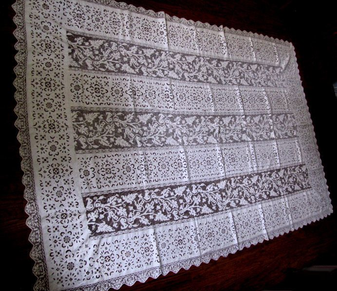 vintage antique linen tablecloth overall photo