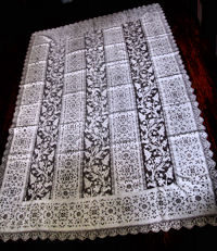 vintage antique white linen tablecloth handmade lace