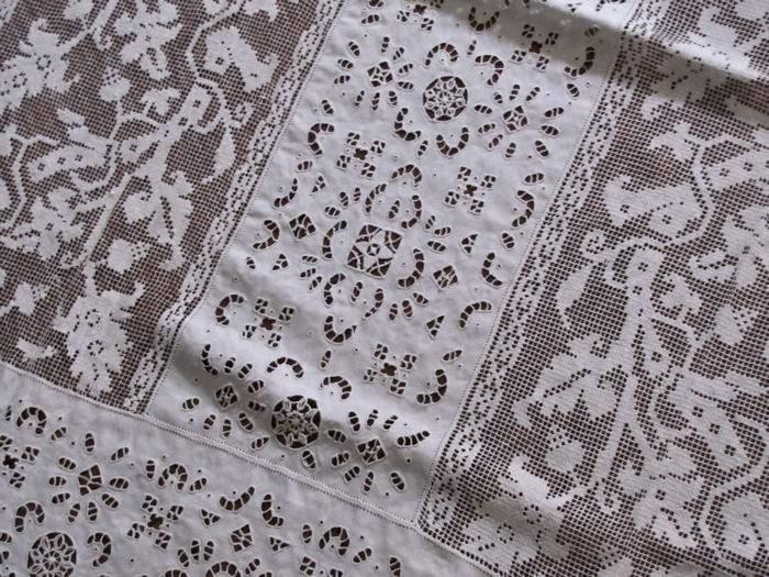 vintage antique linen tablecloth lace inserts
