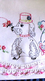 single vintage pillowcase with poodle handmade lace