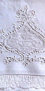 single vintage pillowcase pillowslip filet lace and whitework