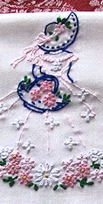 vintage single pillowcase pillowslip hand embroidered girl with flowers