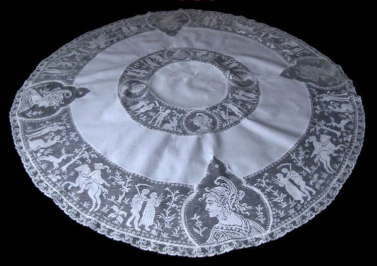 vintage white linen and figural lace table topper