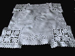 vintage antique white linen table topper handmade lace