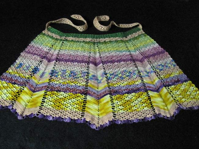 vintage half apron handmade lace