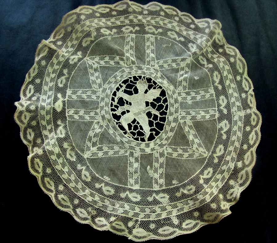 vintage antique Normandy and Figural Lace doily