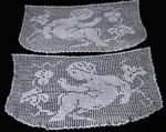 pair vintage figural lace doilies