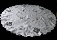 vintage antique handmade figural lace tablecloth