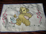 vintage arts and crafts pillow cover teddy bear