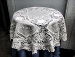 vintage battenberg lace tablecloth