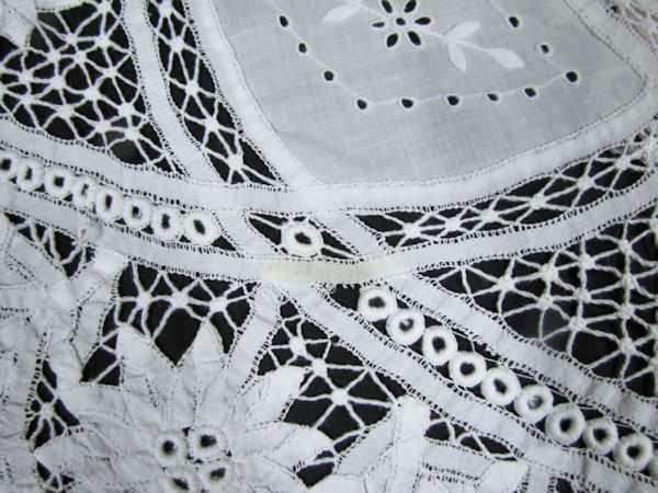 spot on handmade Battenberg tablecloth
