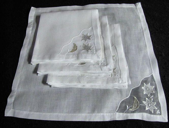 vintage white linen dinner napkins