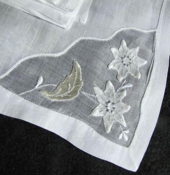 organdy insert on vintage linen napkins