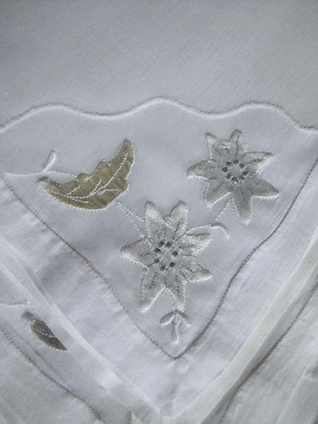 close up vintage white linen napkins