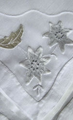 vintage white linen napkins organdy insert