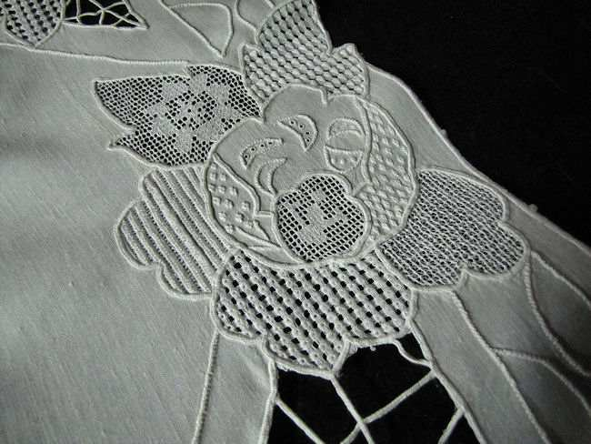 close up 3 vintage sampler of lace table runner dresser scarf