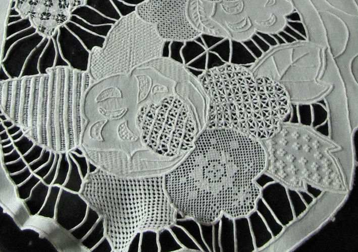 close up 4 vintage sampler of lace table runner dresser scarf