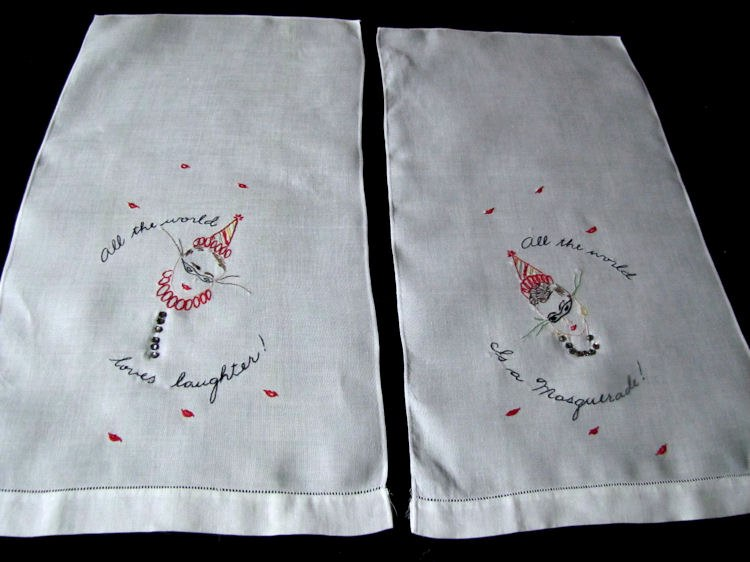 vintage white linen towel with masquerade figure A