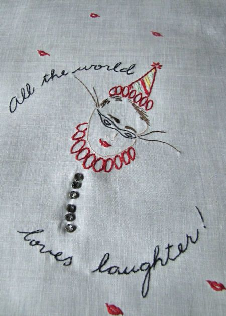vintage white linen towel with masquerade figure B