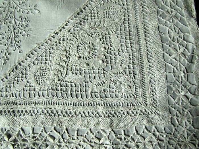 close up 1 vintage antique handmade lace and whitework pillow cover