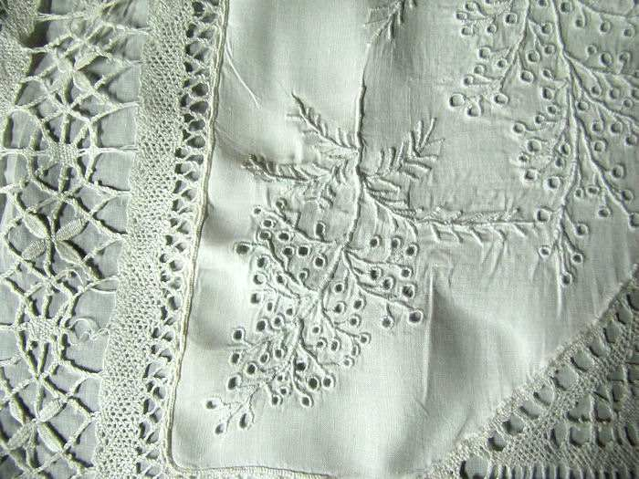 close up 3 vintage antique handmade lace whitework pillow cover