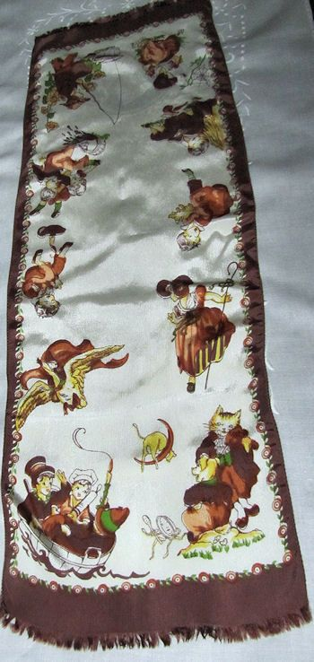 vintage nursery rhyme table runner dresser scarf