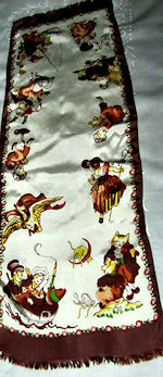 vintage child's childrens nursery rhyme table runner dresser scarf