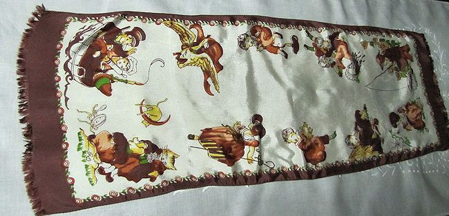 vintage child's nursery rhyme table runner dresser scarf