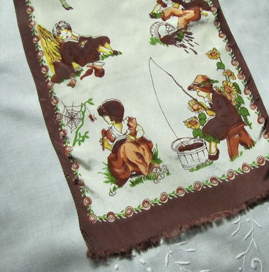 vintage nursery rhyme table runner dresser scarf close up