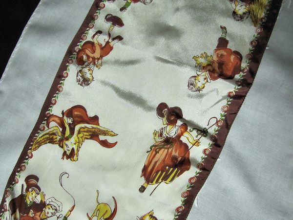 close-up 2 vintage nursery rhyme table runner dresser scarf