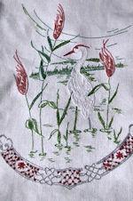 vintage table runner dresser scarf embroidered egret
