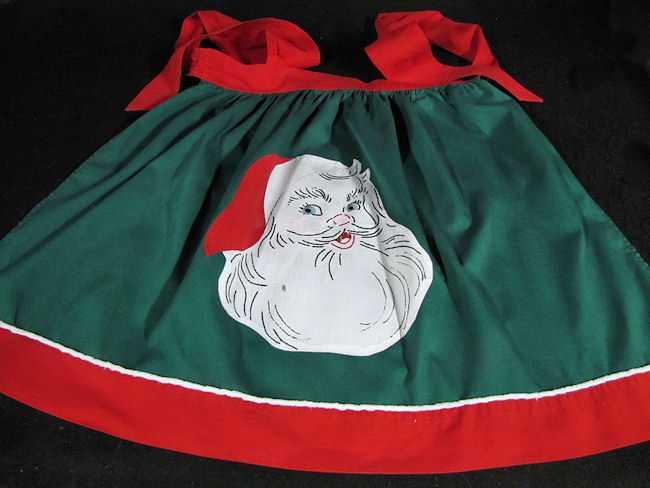 vintage handmade Christmas Santa Claus apron