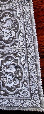 vintage antique table runner dresser scarf figural lace