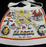 vintage state map apron Alaska