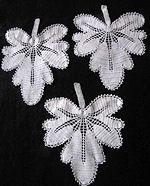 3 vintage antique handmade figural lace doilies