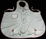 vintage full apron hand embroidered teapot