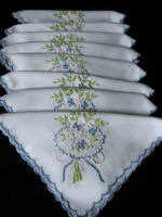 vintage linen napkins blue embroidered flowers