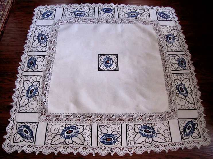 vintage antique linen tablecloth with handmade lace and art deco embroidery