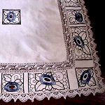 vintage antique tablecloth handmade lace art deco embroidery