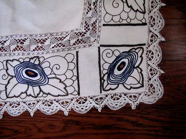 close up 2 vintage antique linen tablecloth with handmade lace and art deco embroidery