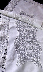 vintage antique table runner dresser scarf figural lace cherubs