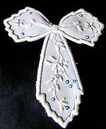 vintage antique victorian white linen jabot hand embroidered