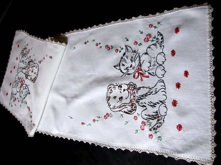 vintage antique table runner dresser scarf hand embroidered puppy and kitten
