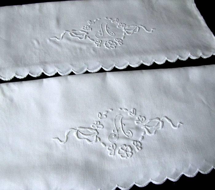 vintage pair pillowcases monogrammed A