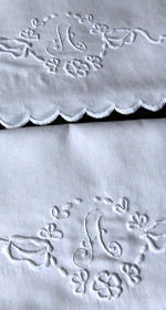 pair vintage handmade pillowcases monogrammed A