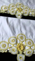 pair vintage antique handmade Irish lace pillowcases