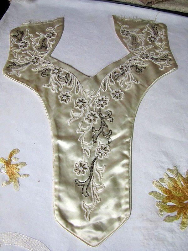 vintage antique beaded collar or dress insert