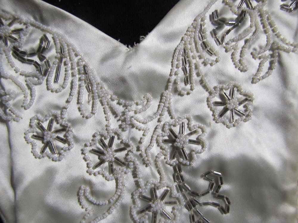 close up 4 vintage antique beaded collar or dress insert