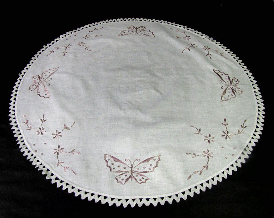 vintage antique table topper society silk embroidered butterflies