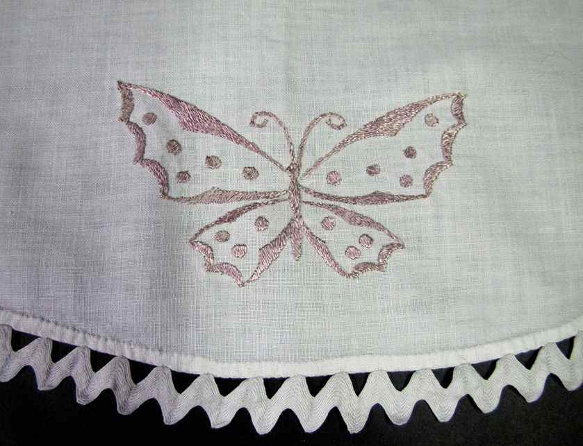 close up vintage antique table topper society silk embroidered butterflies